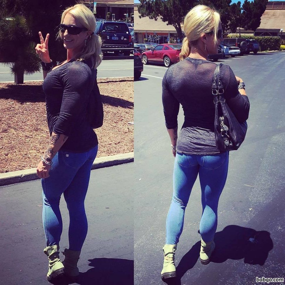 beautiful woman with fitness body and muscle legs repost from facebook