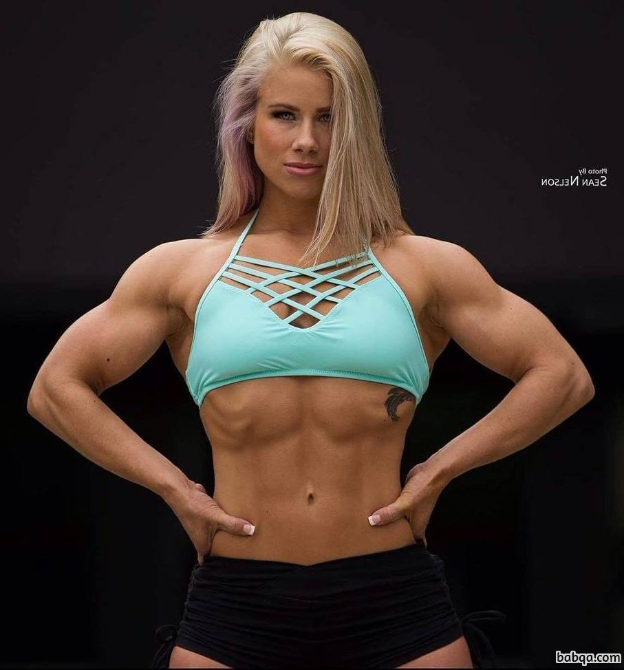spicy babe with muscular body and muscle biceps repost from reddit