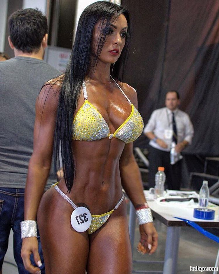 cute female with fitness body and muscle bottom picture from g+