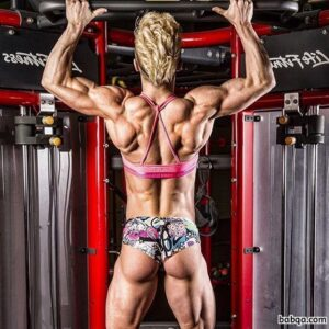sexy female bodybuilder with fitness body and muscle ass post from facebook