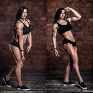 perfect female bodybuilder with fitness body and muscle legs post from g+