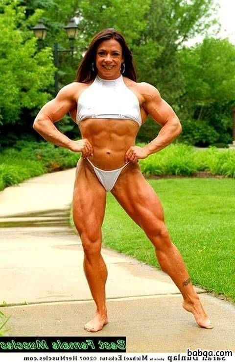 perfect female bodybuilder with fitness body and muscle biceps repost from instagram