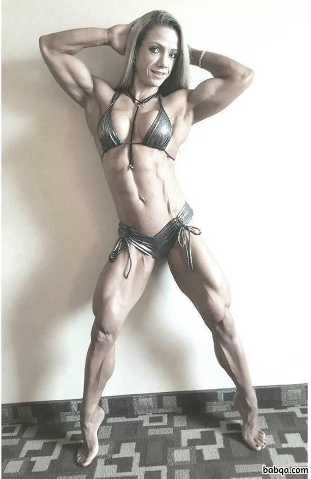 beautiful chick with strong body and muscle legs repost from insta