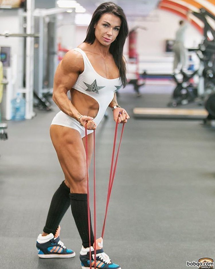 hottest chick with fitness body and muscle arms photo from facebook