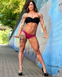 hottest girl with fitness body and muscle biceps picture from facebook
