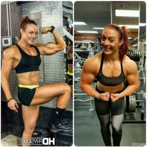 spicy chick with fitness body and muscle biceps pic from reddit