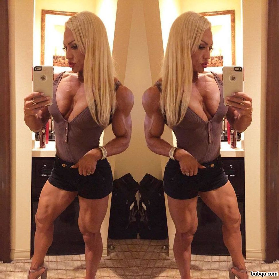 sexy woman with fitness body and muscle biceps picture from reddit