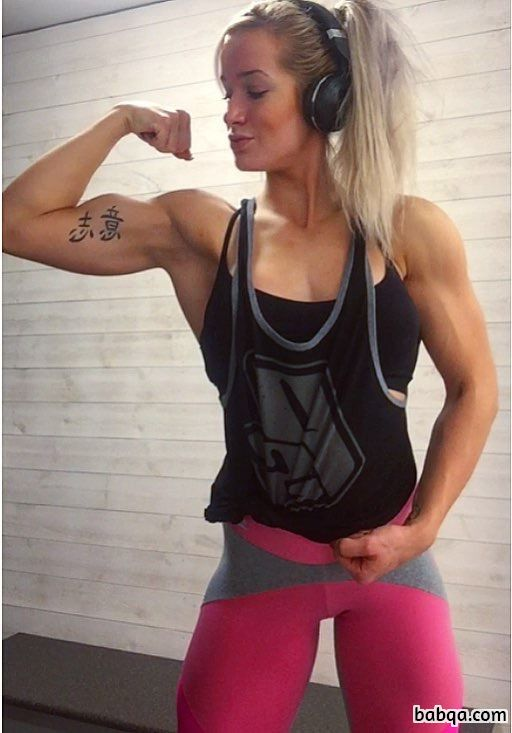 hot woman with strong body and muscle biceps repost from instagram