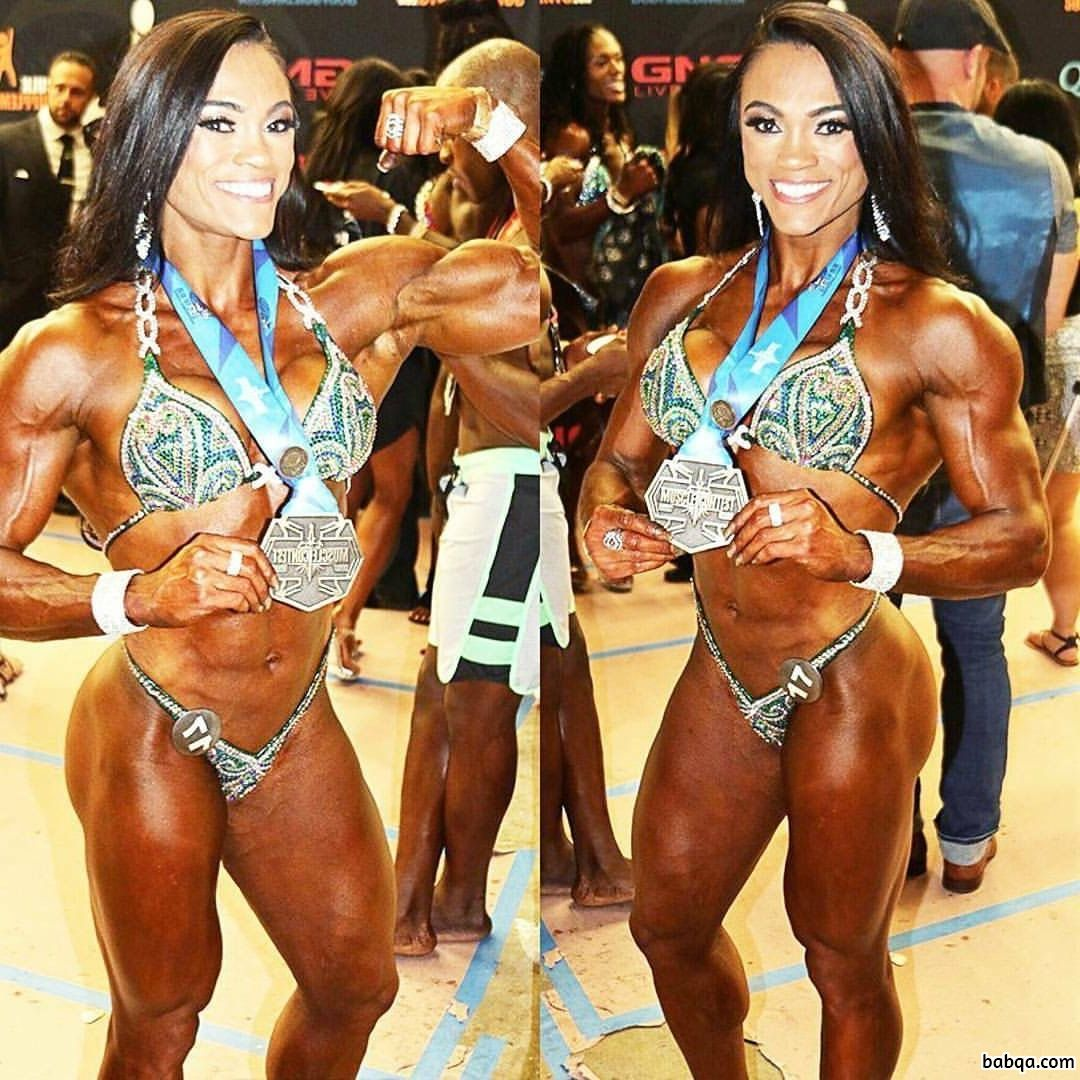 sexy woman with muscular body and muscle biceps pic from linkedin