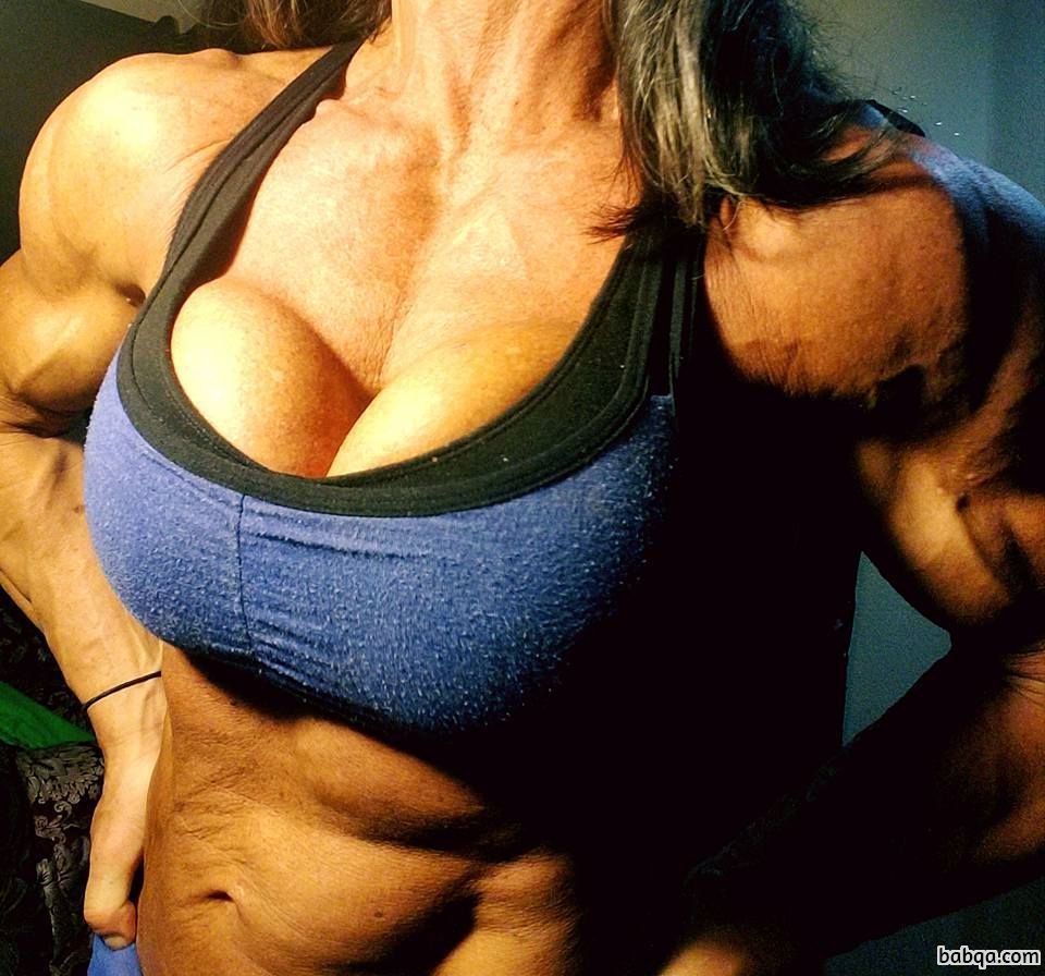 sexy lady with muscular body and toned biceps pic from facebook