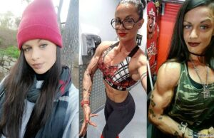cute female bodybuilder with fitness body and muscle bottom image from instagram