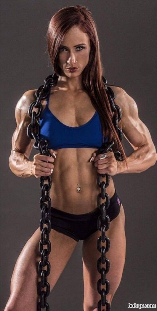 beautiful girl with strong body and toned biceps image from reddit