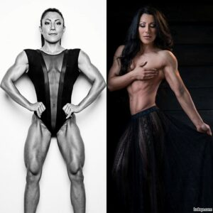 beautiful female bodybuilder with muscular body and muscle arms photo from insta