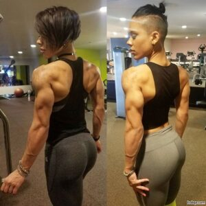 hot female bodybuilder with muscular body and toned arms post from facebook