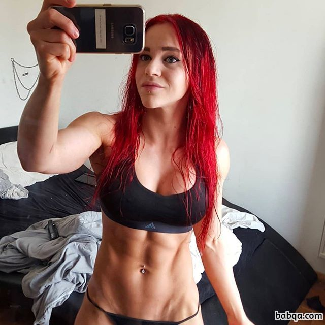 beautiful girl with fitness body and muscle arms post from linkedin