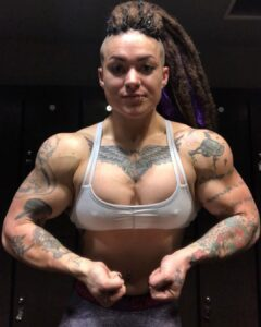 awesome lady with strong body and muscle biceps post from linkedin