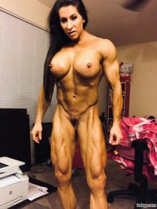 perfect woman with fitness body and muscle biceps pic from instagram