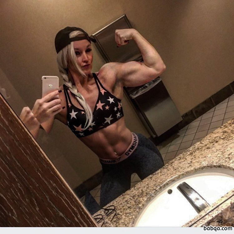 cute chick with muscle body and toned biceps repost from tumblr