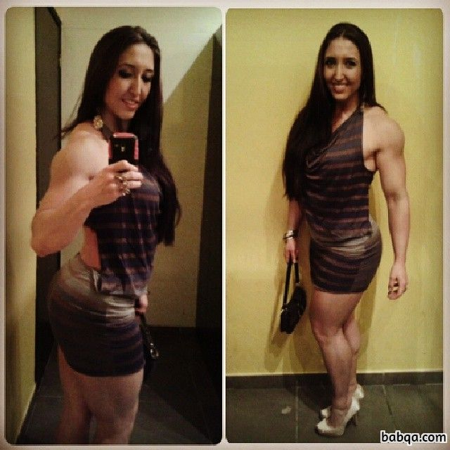 beautiful female bodybuilder with strong body and toned legs repost from instagram