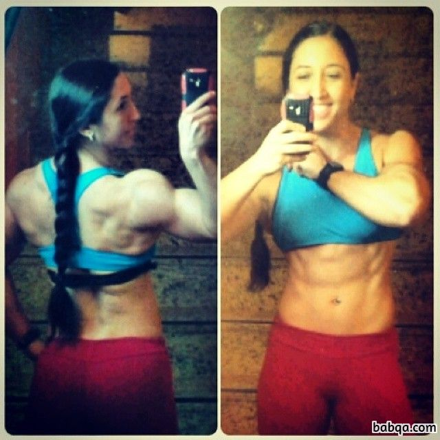 spicy babe with fitness body and muscle arms photo from insta