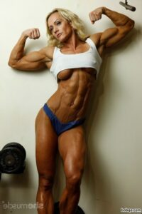 spicy female bodybuilder with fitness body and muscle bottom repost from linkedin