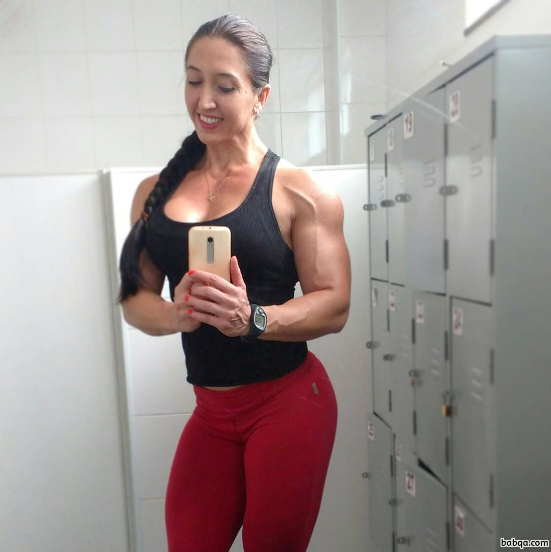 perfect woman with strong body and toned arms repost from instagram