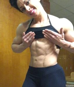 beautiful female bodybuilder with strong body and toned arms pic from facebook