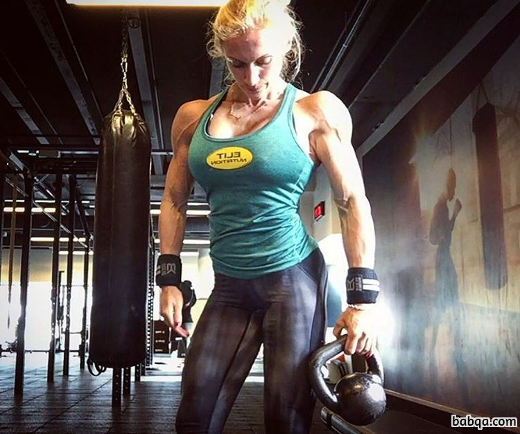 sexy lady with fitness body and toned biceps picture from reddit