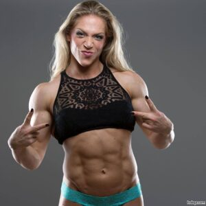 perfect lady with muscle body and toned biceps photo from insta