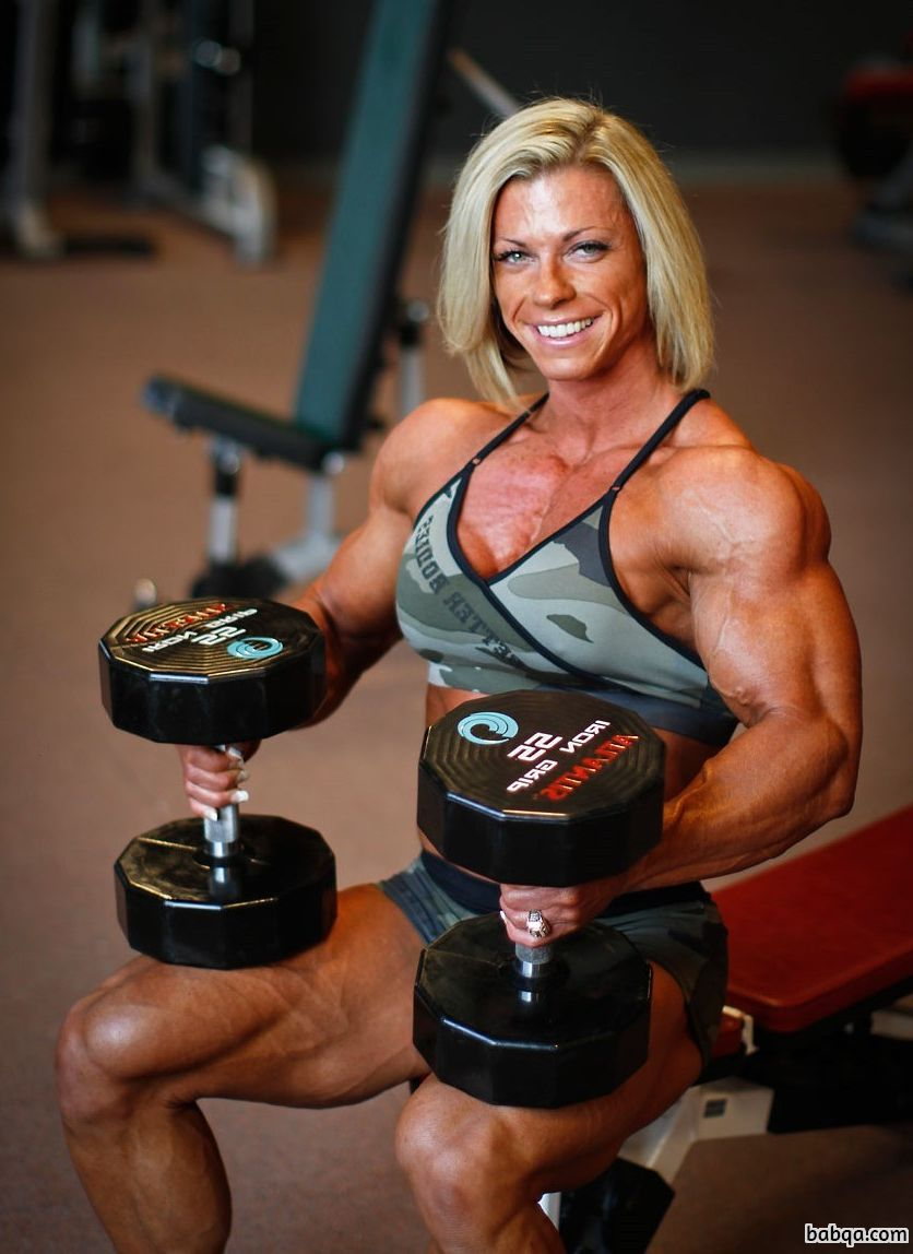perfect female with muscle body and muscle biceps image from insta