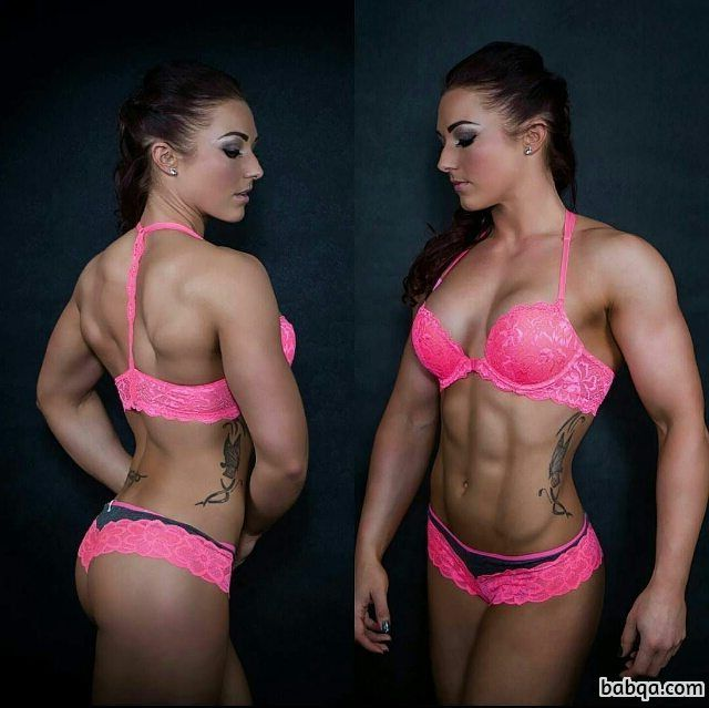 awesome lady with muscle body and muscle booty image from insta