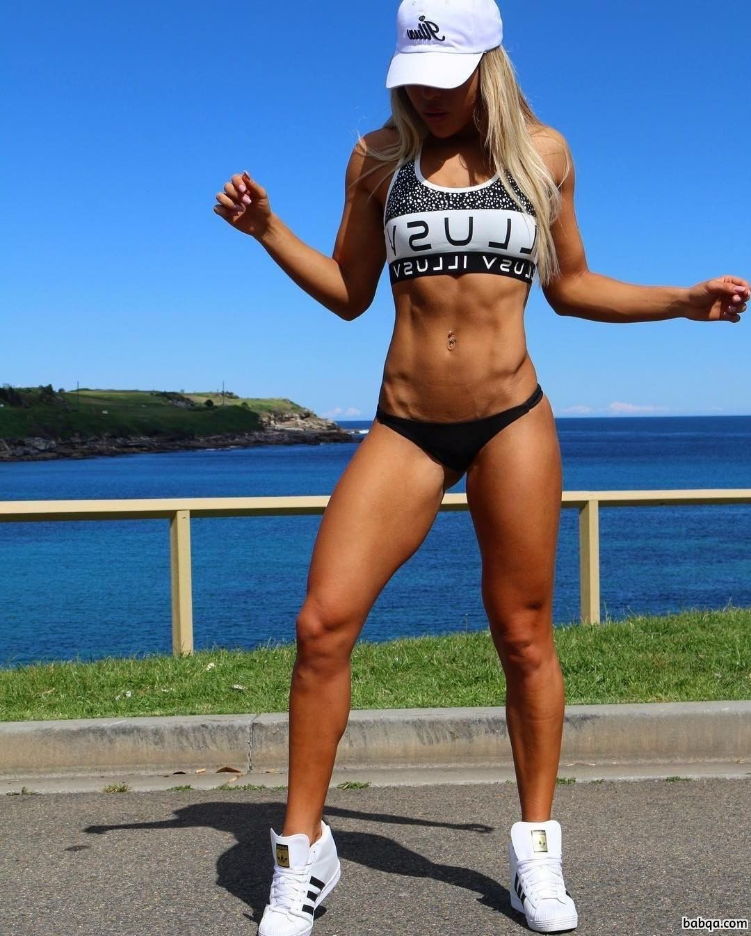 awesome chick with muscular body and muscle biceps picture from g+