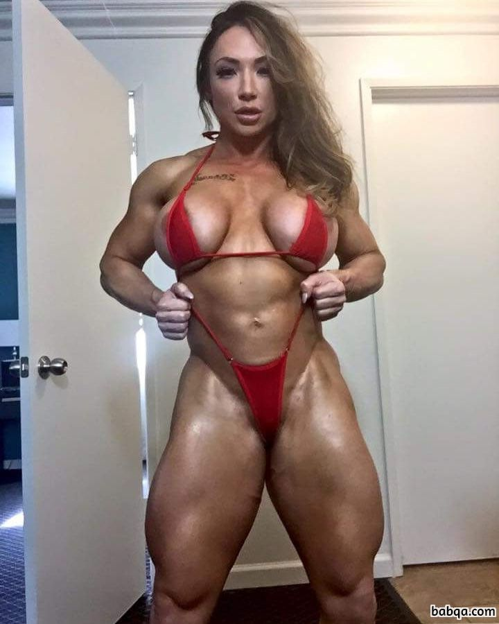 awesome woman with fitness body and toned biceps photo from facebook