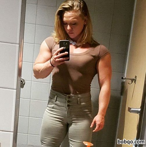 beautiful lady with strong body and muscle arms image from facebook