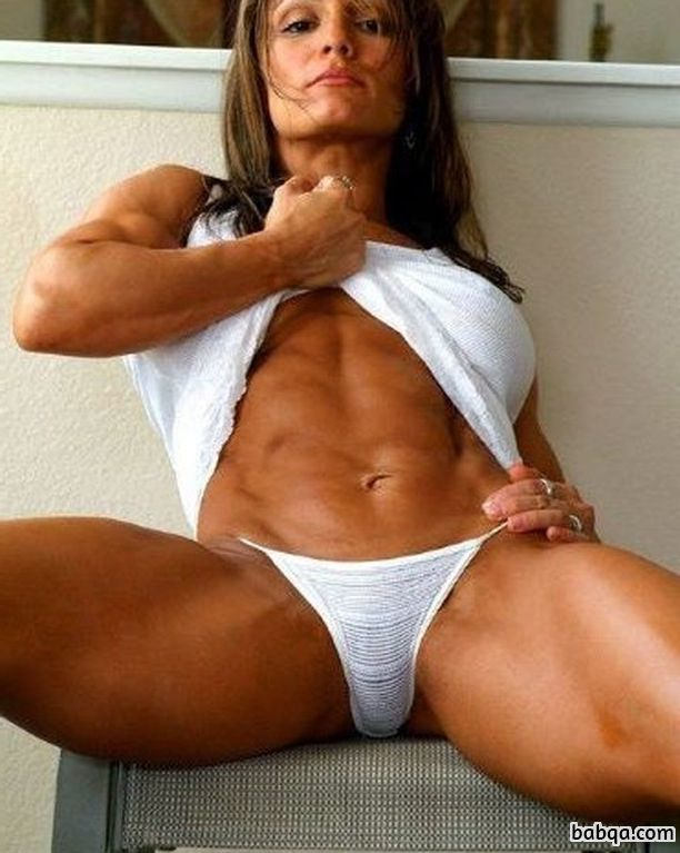 sexy female bodybuilder with muscular body and toned biceps post from facebook