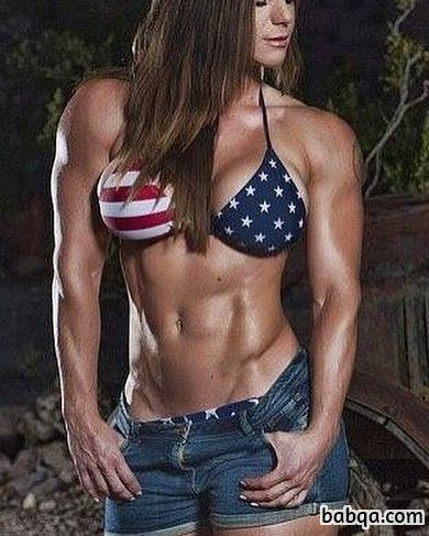 sexy female bodybuilder with strong body and toned biceps image from g+