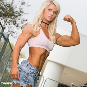cute female with fitness body and muscle biceps pic from linkedin