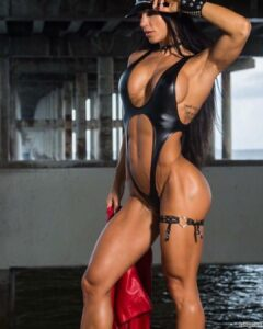 hot female bodybuilder with fitness body and muscle legs post from linkedin