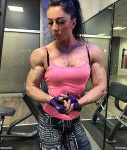 cute woman with strong body and muscle biceps repost from g+