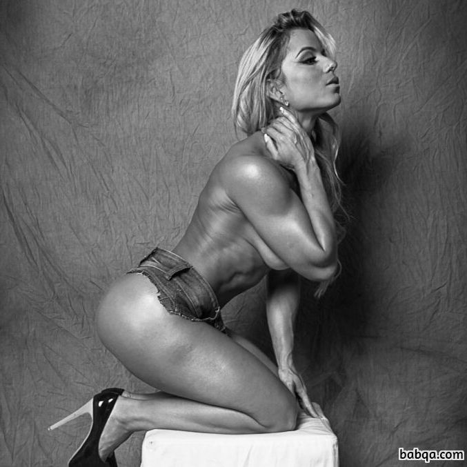 beautiful lady with muscle body and muscle biceps image from facebook